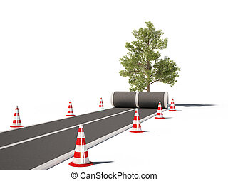 road traffic cones tree no way 3d c