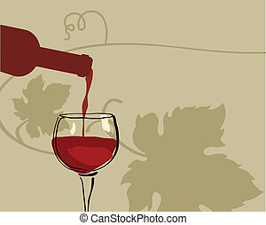 Glass of red wine with grape