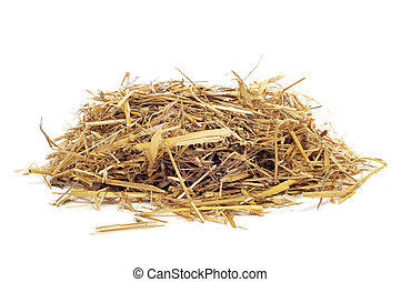straw - a pile of straw on a white background