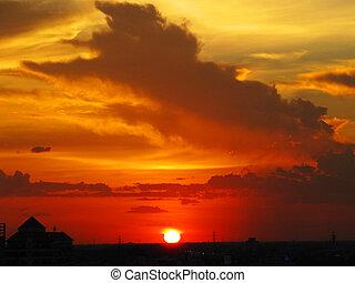 Red sunset in Bangkok, Thailand.