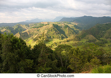 The Andes Mountains from Salento Quindio province Colombia...