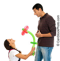Young couple gift baloon flower valentine?s day isolated