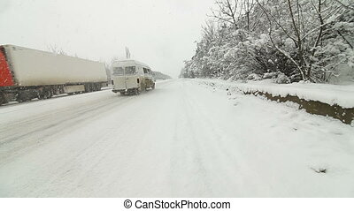 Winter Traffic in Snowfall - winter traffic in snowfall,...