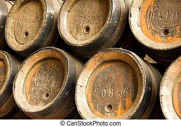 madeira, barris, Cerveja, fila