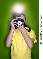 Girl Photographer - Girl photographer taking pictures with a...
