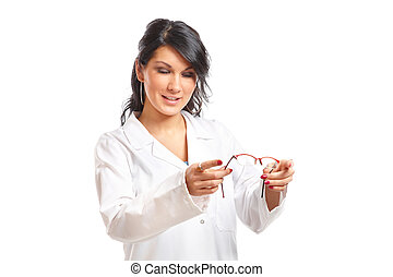 Optician woman giving glasses