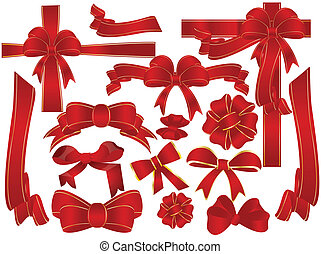 bow and ribbon - Big set of red gift bows with ribbons