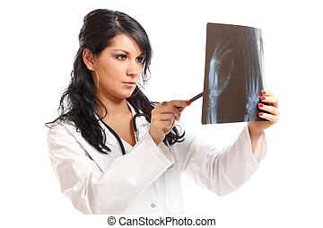 Medicine woman doctor with x-ray - Medicine woman doctor...