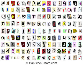 Torn paper font vector. Upper and lower case, numbers and...
