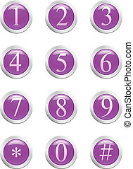 Numbers - violet button. [Vector] - 6 high-detailed buttons....