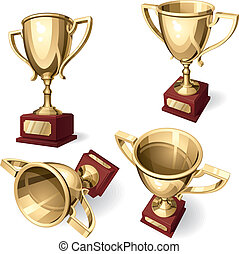 Sport Cup. Set of four views on white background. Vector...