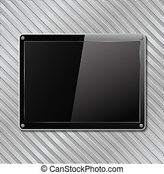 Black plate on metal striped background, vector eps10...