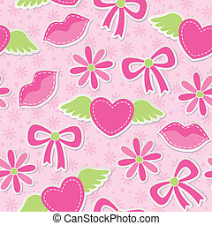 pink seamless pattern with hearts, bows and flowers