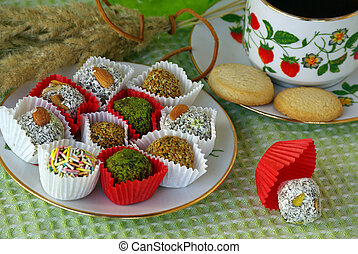 holiday tea party - Oriental sweets and a cup of tea on the...