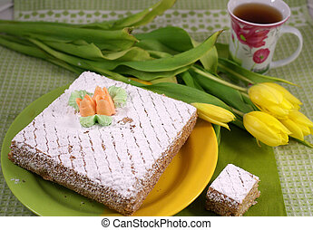 tea party - celebratory tea party on the green cloth with a...