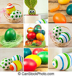Easter eggs theme - Easter theme or collageColorful easter...