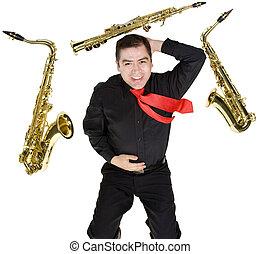 hráč,  Latino, saxofon, osamocený