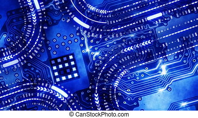 blue technology circuit board loop