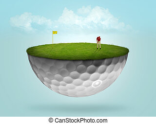 Putting on floating green - Golf green in the shape of a...