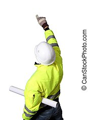 Building Worker with plan roll