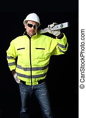 Buidling Worker with level and black background