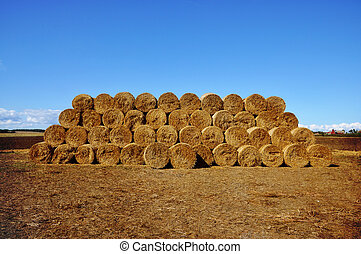 Stacked bales of hay - Bales of hay stacked on a field with...
