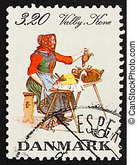 Postage stamp Denmark 1989 Woman from Valby