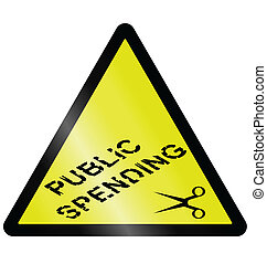 Public spending cuts warning hazard sign isolated on white...
