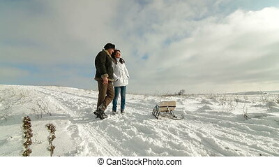 Adult couple enjoying in winter