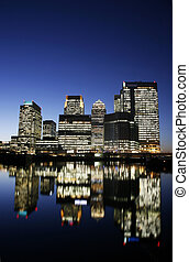 Canary Wharf Skyline at Night - Office skyscrapers in Canary...