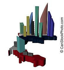 abstract skyscrapers on Thailand map flag illustration