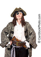 Portrait of man dressed as pirate