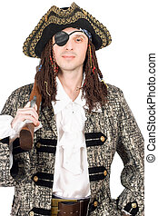 man dressed as pirate. Isolated