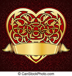 Ornamental heart with gold ribbon for valentine day