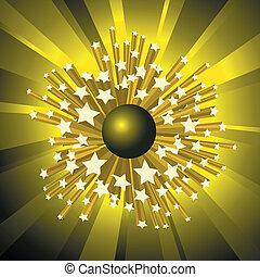 big bang - yellow shining big bang with stars