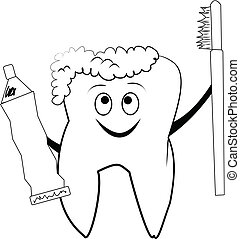 smiley tooth  - molar tooth sketch with brush and paste