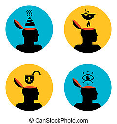 icons of head - various icons of open human head
