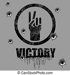 victory sign on background with bullet holes
