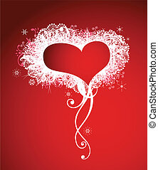 Red heart frame background. Vector decoration