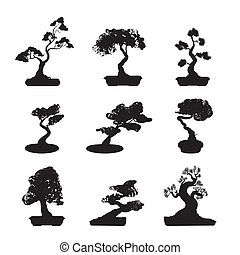 Bonsai Trees Silhouettes Set