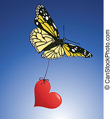 Butterfly and red heart vector love illustration