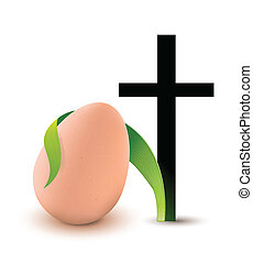Easter Cross and egg religion symbols