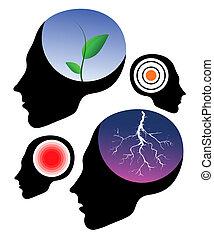 Headache vector signs. Health icons