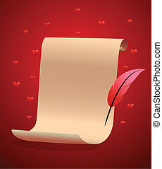 Paper scroll for love message. Valentine or wedding art