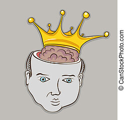 Creative graphic concept vector illustration. Smart brain person