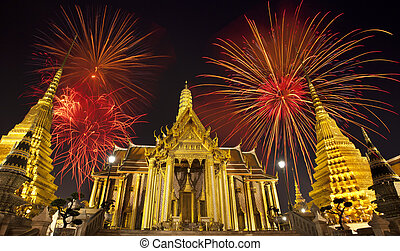 Firework on Wat Phra Kaeo Thai royal palace between King...