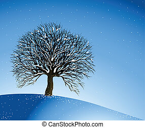 Winter Landscape. Lonely Tree