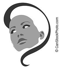 Beautiful girl face vector symbol
