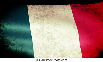 France Flag Waving, grunge look