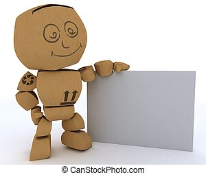 Cardboard Box figure with blank white sign